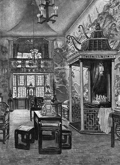 One of 8 commissioned paintings of Beuaport by the Scottish artist William Rankin for an article, on the house, published in Country Life, February, 1929 shows the original installation of Mr. Sleepers China Trade Room with large pagoda and Chinese furnishings.