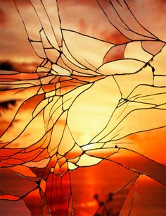 This Isn't Stained Glass, It's A Miracle Of Optics...beautiful...broken mirror and a sunset