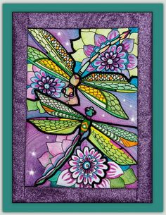 Grand Sewing Embroidery Designs At Home Ideas. Beauteous Finished Sewing Embroidery Designs At Home Ideas. Dragonfly Stained Glass, Dragonfly Art, Glass Butterfly, Stained Glass Art, Embroidery Designs, Quilting Designs, Glitter Frame, Quilt Patterns, Art Patterns