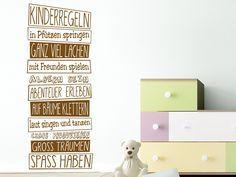 Kinderregeln:  in Pfützen springen // ganz viel lachen // mit Freunden spielen // albern sein // Abenteuer erleben // auf Bäume klettern // laut singen und tanzen // Chaos produzieren // groß träumen // Spaß haben! #Wandtattoo #Kinderzimmer
