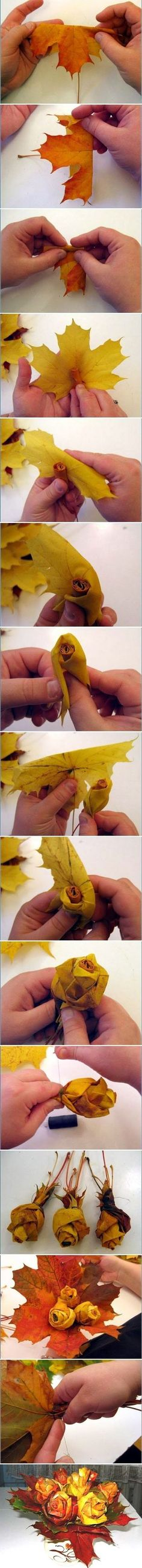 Clever way to use fall leaves to make roses by ElhamZH: