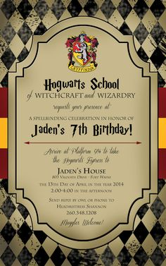 Harry Potter Birthday Invitation by ImagineItPartyPaper on Etsy