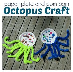 Paper Plate & Pom Pom Octopus Craft  - Pinned by @PediaStaff – Please Visit  ht.ly/63sNt for all our pediatric therapy pins