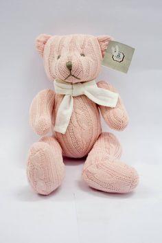 Urso Tricot rosa com laço branco