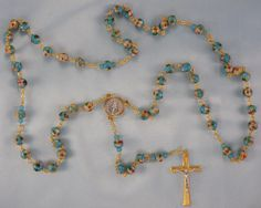 Cloisonne Rosary - Turquoise Blue 8mm Cloisonne Metal Beads - Czech Blue Crystal Beads - Italian Two Tone Gold and Silver Center and Crucifx by JMJBlessedBeads on Etsy