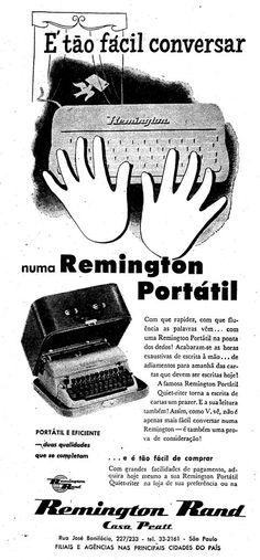 Propaganda da Máquina de Escrever Remington Portátil em 1957.