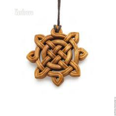 """Купить Кулон деревянный резной """"Солнце"""" (из яблони) - оранжевый, теплый, кулон, подвеска, символ"""