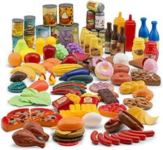 JaxoJoy 122-Piece Deluxe Pretend Play Food Set Beautiful Toy Food Assortment Play Food Set, Pretend Food, Pretend Play, Yummy Treats, Yummy Food, Tasty, Basic Food Groups, Cooking Toys, Imagination Toys