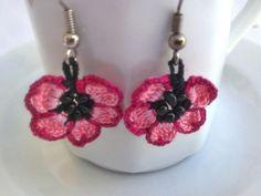 Handmade Crochet Earrings  with  Pink Flowers by ReddApple
