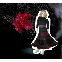 Купить юбка вязаная Краски осени - вязаная юбка, в полоску, юбка, ажурная юбка