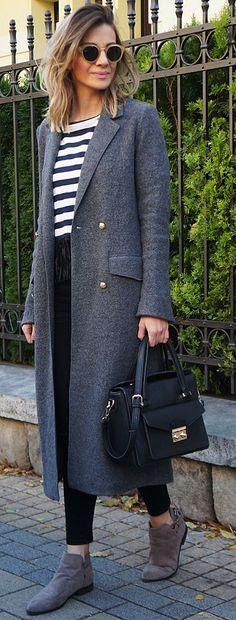 Gray Longline Coat Fall Street Style Inspo by Bonjour….JR