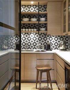 The walk-in pantry was a place to add drama. | Photographer: Colin Way Designer: Nam Dang-Mitchell