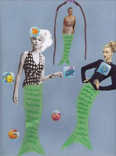 Magazine mermaids craft    Craft for Favorite Things Party.  Turn into magnets for party favor take-home gift.