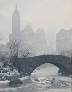 """Drahomir Joseph Ruzicka *  (Trhova Kamenice 1870-1960 New York) """"Towers of Manhattan - Winter"""", ca. 1935, vintage print, gelatine-silver, gold toned, verso with title in pencil, signed, labelled: chloride print gold toned and bearing the address Jackson Heights N. Y., exhibition label Frankfurt 1936, edged with paper tape, 34 x 26,5 cm, 3 small creases (2 to the margin), with frame, (EK)"""