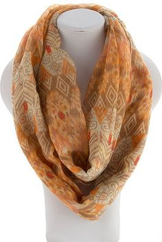 """AZTEC PRINT INFINITY SCARF -  Taupe $8 Will ship tomorrow.  View all 57 different styles in stock by LIKING the Dakota Jackson Boutique FB pg. & clicking """"SHOP HERE"""" tab on left of pg.  MOBILE USERS: To purchase, use the """"SHOP NOW"""" mobile link pinned to top of our timeline."""