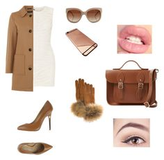"""Brown motion"" by aliza-ahmed on Polyvore featuring Balmain, Gloverall, Vicini, STELLA McCARTNEY, FRR and The Cambridge Satchel Company"