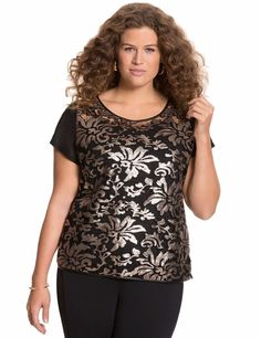 New $54 blk mesh floral sequin LANE BRYANT faux leather trim blouse 1X plus top #LaneBryant #meshsequinblouseembellished #EveningOccasionLength26