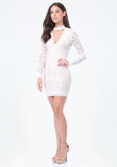 Lace Panel Mock Neck Dress