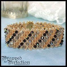 Swarovski Crystal Bracelet / Beaded Netting by WrappedToPerfection