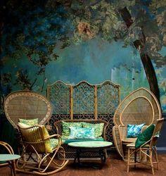⋴⍕ Boho Decor Bliss ⍕⋼ bright gypsy color & hippie bohemian mixed pattern home decorating ideas - blues