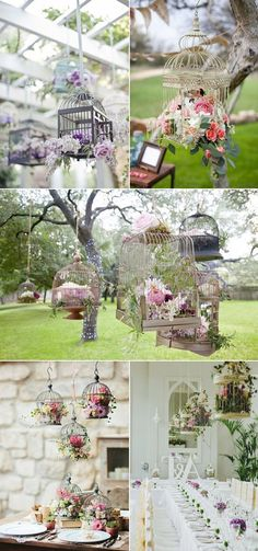 Vintage Wedding Birdcage Theme Hanging Flower Arrangements for Outdoor Wedding