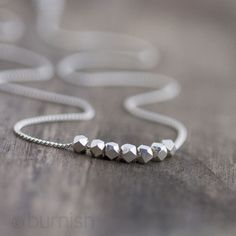 Silver Nuggets Necklace / Simple Minimalist Sterling Silver Necklace / Modern Everyday Jewelry by burnish. $30.00, via Etsy.