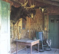 """Nothing says """"welcome to my home"""" like a giant moose head. Moose Head, Connecticut History, Log Cabin Living, Christmas Lodge, Rock Fireplaces, Steampunk House, Getaway Cabins, Lodge Style, Cabins"""