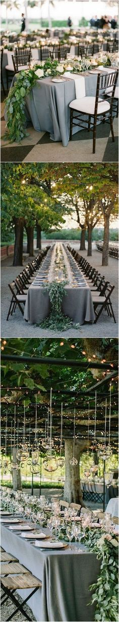 green and grey wedding table setting for 2018 trends