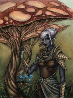 Elf and a tree-fungus in color by ~Yamber on deviantART