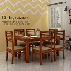 Create your #dining room charming and indulge #memories in it with the Sula Canyon 6 Seater Dining Set. Crafted from Sheesham wood and crowned with honey #finish, this dining set is designed to provide right warmth.