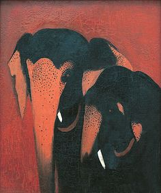 Two Elephants - Amrita Sher-Gil (1913-1941). Hungarian/Indian. Post-Impressionism