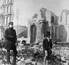 Surveying the ruins at LaSalle and Washington after the Great Fire, c.1871, Chicago.