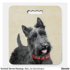 Scottish Terrier Painting - Cute Original Dog Art Seat Cushion - Stadium & Seat Cushions Gift Idea. Stadium Seat Cushions, Stadium Seats, Logo For School, Original Paintings, Original Art, Black Puppy, Scottish Terrier, Scottie, Dog Art