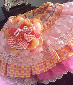 Ruffled yellow and peach lace toddler 2 skirt by Babybonbons, $55.00