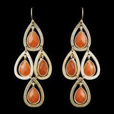 New Bridesmaid Gold Orange  - Earrings - $32.99