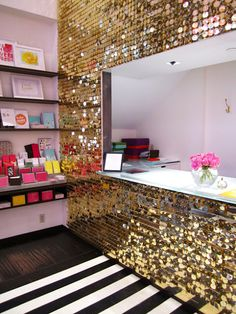 Sequined wall, cute idea for a craft room!