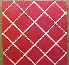"Red Burlap custom fabric covered decorative cork bulletin board with cream crisscross message ribbons.  Code 10840  24"" x 24""  $75.90  www.pushpinsandfabriccorkboards.com"