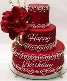 ~ Red Wedding Cake with white piping detail Happy Birthday Status, Happy Birthday Cake Images, Happy Birthday Wishes Images, Happy Birthday Wallpaper, Birthday Cheers, Happy Birthday Flower, Beautiful Birthday Cakes, Happy Birthday Greetings, Birthday Messages