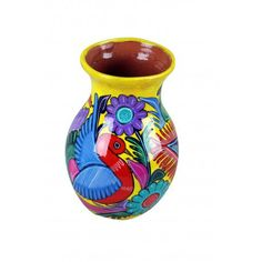 Michoacan Hand Painted Vase Mexican Pottery