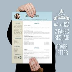 Page Resume Template Cover Letter By Studiomtemplates On Etsy