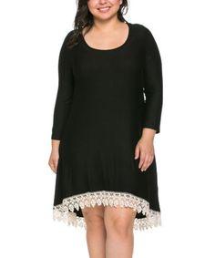 Plus-Size-3X-Black-Shift-Dress-Tunic-Crochet-Trim