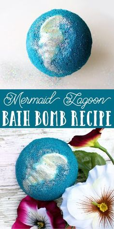 Mermaid Lagoon Bath Bomb Recipe! Learn how to make a mermaid lagoon bath bomb for a fun and colorful addition to your bath time ritual! This mermaid lagoon bath bomb recipe yields two large bath bombs with moisturizing cocoa butter shells. When placed in water, your mermaid lagoon bath bomb will spin, fizz and sparkle releasing a beautiful blue color, eco-friendly rainbow glitter and skin loving ingredients including kelp powder, oat butter and coconut oil. #bathbomb #mermaid #diy #tutorial