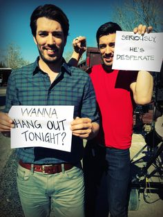 Jonathan and I want to hang out with you every Wednesday night at 9/8c. See their makeovers and watch full episodes: http://www.hgtv.com/property-brothers/show/index.html?soc=Pinterest