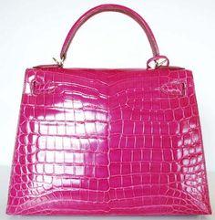 HERMES Fuchsia Pink Crocodile Kelly Bag-28cm-w/PH & Box | All Handbag Fashion