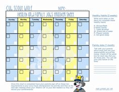 chore charts for cub scouting | Healthy Habits - Wolf Cub Scout Lesson (Free Printable)