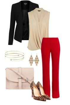 Красные брюки и леопардовый принт