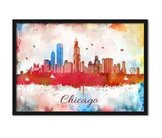 Chicago City In Illinos Skyline Abstract Watercolor Illustrated Wall Decorative Cityscape Collectible Art Print John Hancock Center Wall Hanging Home Décor #Chicago #HomeDécor #SkylineAbstract #JohnHancockCenter #WatercolorArt #CityscapeArt #WallDecorative  https://www.amazon.com/dp/B01N444W96/ref=cm_sw_r_pi_dp_x_iVwnyb5E351KZ