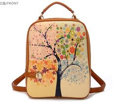 Urparcel Women Leather Rucksack Vintage Backpack Cross-Body Shoulder Bag Handbag None Vintage Backpacks, Cute Backpacks, Girl Backpacks, Leather Backpacks, School Backpacks, One Strap Backpack, Backpack Bags, Travel Backpack, Messenger Backpack