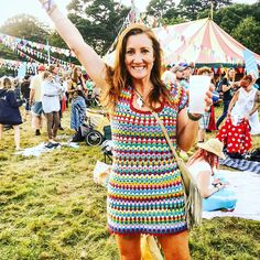 """Claudine on Instagram: """"And the mystery WIP was ...a scrap yarn #grannygorounddress !! 👗 Just back from 3 days at The Great Estate Festival here in Cornwall & it…"""""""