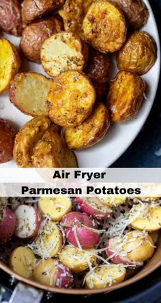 This Air Fryer Parmesan Potatoes Recipe is great for a quick and easy side dish. , This Air Fryer Parmesan Potatoes Recipe is great for a quick and easy side dish. This Air Fryer Parmesan Potatoes Recipe is great for a quick and ea. Air Fry Potatoes, Air Fryer Recipes Potatoes, Air Fryer Oven Recipes, Air Fryer Dinner Recipes, Easy Potato Recipes, Healthy Recipes, Baby Potatoes, Fried Potatoes, Air Fryer Recipes Vegetables